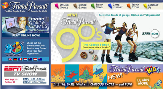 Trivial Pursuit web site