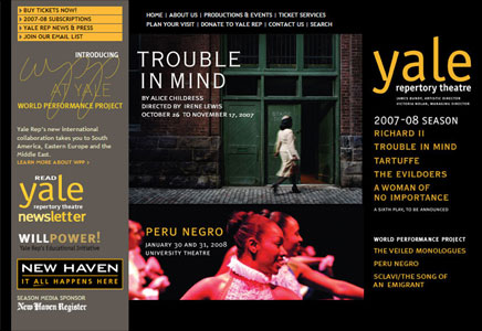 Yale Repertory Theatre splash page
